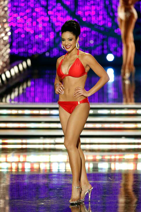 Miss Iowa, Mariah Cary, appears in the swimsuit competition of 'The 2013 Miss America Pageant' telecast live from the Planet H