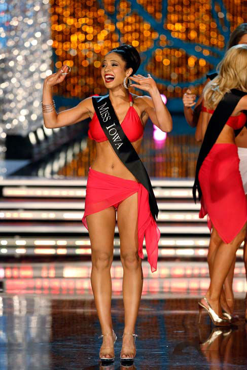 Miss Iowa, Mariah Cary, appears in the swimsuit competition of 'The 2013 Miss America Pageant' telecast li