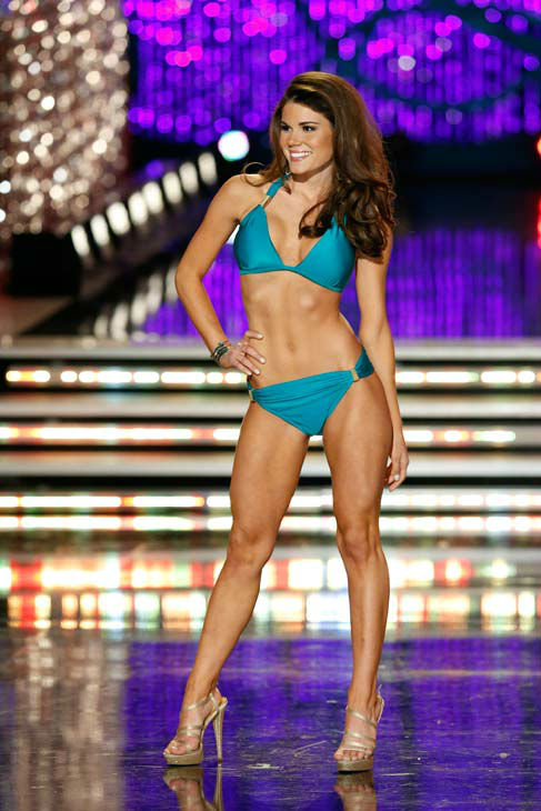 Miss Maryland, Joanna Guy, appears in the swimsuit competition of 'The 2013 Miss America Pageant' telecast live from the Planet Hollywood Resort and Casino in Las Vegas on Saturday, January 12, 2013.