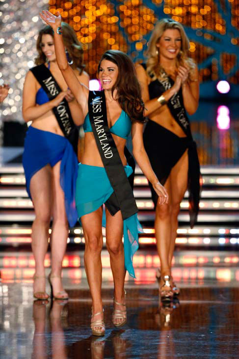 Miss Montana, Alexis Wineman, Miss Maryland, Joanna Guy, Miss New York, Mallory Hagan, appear in the swimsuit competition of 'The 2013 Miss America Pageant' telecast live from the Planet Hollywood Resort and Casino in Las Vegas on Saturday, January 12, 20