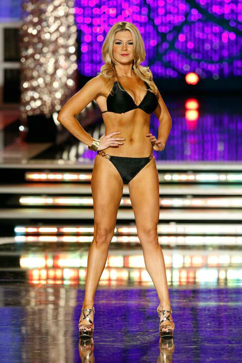 Miss New York, Mallory Hagan, appears in the swimsuit competition of 'The 2013 Miss America Pageant' telecast live from the Planet Hollywood Resort and Casino in Las Vegas on Saturday, January 12, 2013.