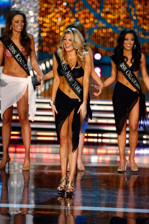 Miss Kentucky, Jessica Casebolt, Miss New York, Mallory Hagan, Miss Oklahoma, Alicia Clifton, appear in the swimsuit competition of 'The 2013 Miss America Pageant' telecast live from the Planet Hollywood Resort and Casino in Las Vegas on Saturday, January