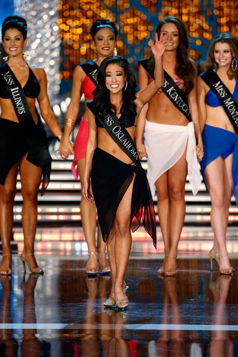 Miss Illinois, Megan Ervin, Miss Iowa, Mariah Cary, Miss Oklahoma, Alicia Clifton, Miss Kentucky, Jessica Casebolt, Miss Montana, Alexis Wineman, appear in the swimsuit competition of 'The 2013 Miss America Pageant' telecast live from the Planet Hollywood