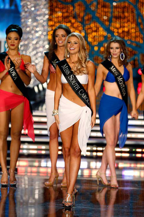 Miss Iowa, Mariah Cary, Miss Kentucky, Jessica Casebolt, Miss South Carolina, Ali Rogers, Miss Montana, Alexis Wineman, appear in the swimsuit competition of 'The 2013 Miss America Pageant' telecast live from the Planet Hollywood Resort and Casino in Las