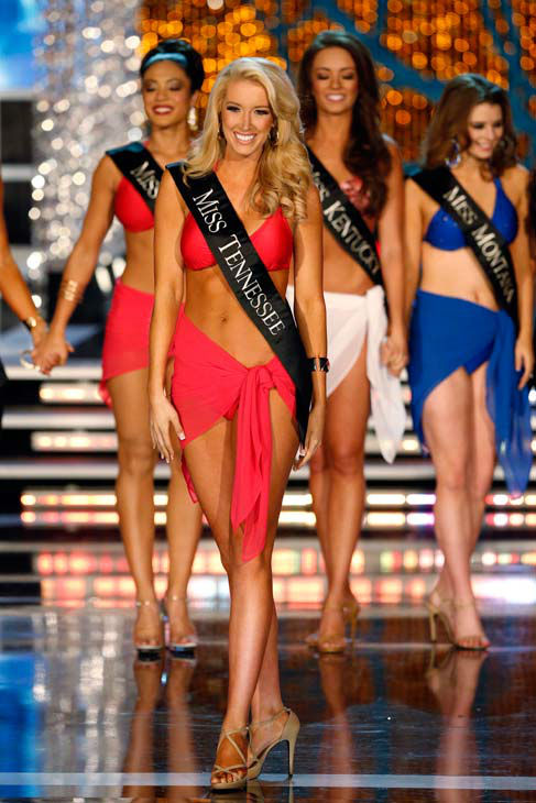 Miss Iowa, Mariah Cary, Miss Tennessee, Chandler Lawson, Miss Kentuck, Jessica Casebolt, Miss Montana, Alexis Wineman, appears in the swimsuit competition of 'The 2013 Miss America Pageant' telecast live