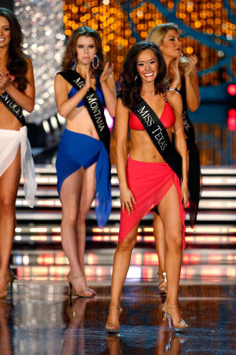 Miss Montana, Alexis Wineman, Miss Texas, Danae Couch, appear in the swimsuit competition of 'The 2013 Miss America Pageant' telecast live from the Planet Hollywood Reso