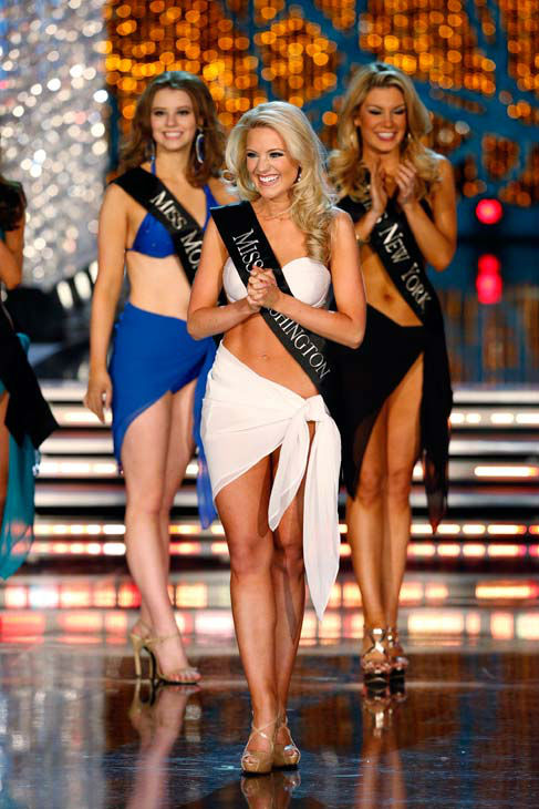 Miss Montana, Alexis Wineman, Miss Washington, Mandy Schendel, Miss New York, Mallory Hagan, appear in the swimsuit competition of 'The 2013 Miss America Pageant' telecast live from the Planet Hollywood Resort and Casino in Las Vegas on Saturday, January