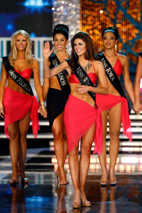 Miss Florida, Laura Mckeeman, Miss Illinois, Megan Ervin, Miss Wyoming Lexie Madden, Miss Iowa, Mariah Cary, appear in the swimsuit competition of 'The 2013 Miss America Pageant' telecast live from the Planet Hollywood Resort and Casino in Las Vegas on Sa