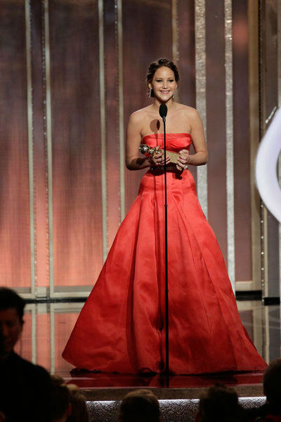 Jennifer Lawrence ppears on stage during the 70th Annual Golden Globe Awards held at the Beverly Hilton Hotel on January 13, 2013.