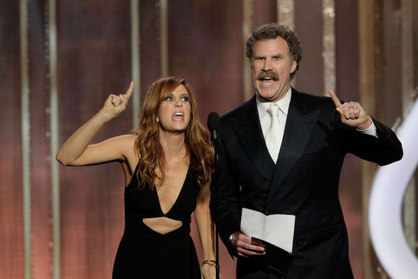 Will Ferrell and Kristen Wiig improvise Best Performance by an Actress in a Motion Picture - Comedy Or Musical   The two &#39;Saturday Night Live&#39; alums pretended like they hadn&#39;t seen a single film that was nominated in the category and tried to explain what the films were about.   According to Wiig and Ferrell, Jennifer Lawrence&#39;s character in &#39;Silver Linings Playbook&#39; collected a lot of silver. Ferrell thought it was an animated movie. Almost all of the films they described had the line, &#39;You get out of here!&#39;  &#40;Pictured: Will Ferrell and Kristen Wiig appear on stage during the 70th Annual Golden Globe Awards held at the Beverly Hilton Hotel on January 13, 2013.&#41; <span class=meta>(Paul Drinkwater&#47;NBC)</span>