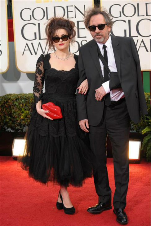 Helena Bonham Carter and parter Tim Burton appear at the 2013 Golden Globe Awards in Beverly Hills, California on Jan. 13, 2013. <span class=meta>(Giulio Marcocchi &#47; Startraksphoto.com)</span>