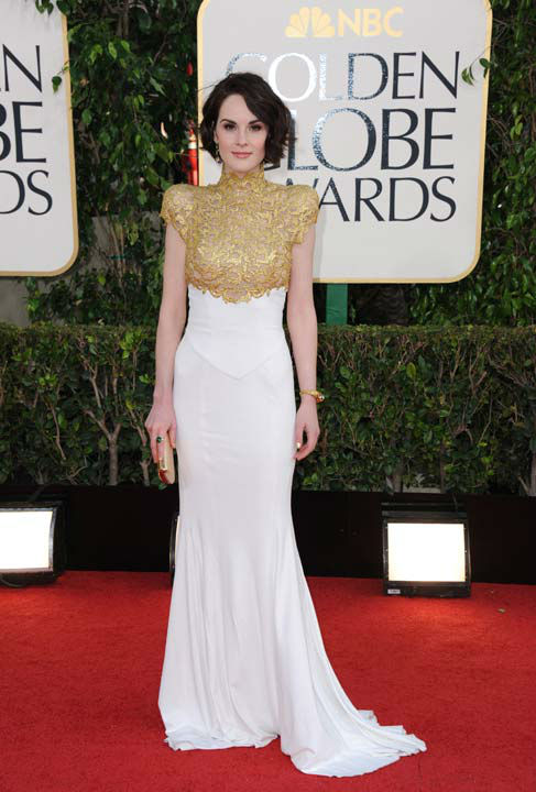 Actress Michelle Dockery arrives at the 70th Annual Golden Globe Awards at the Beverly Hilton Hotel on Sunday Jan. 13, 2013, in Beverly Hills, Calif.