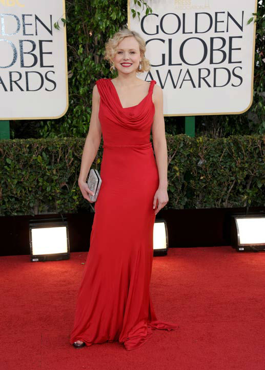 Actress Alison Pill arrives at the 70th Annual Golden Globe Awards at the Beverly Hilton Hotel on Sunday Jan. 13, 2013, in Beverly Hills, Ca