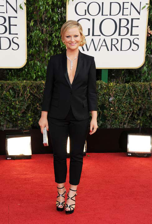 Show host Amy Poehler arrives at the 70th Annual Golden Globe Awards at the Beverly Hilton Hotel on Sunday Jan. 13, 2013, in Beverly Hills, Calif.