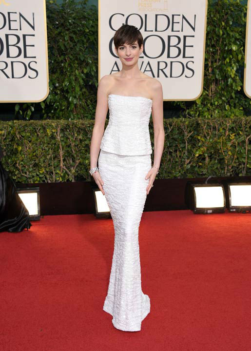 Actress Anne Hathaway arrives at the 70th Annual Golden Globe Awards at the Beverly Hilton Hotel on Sunday Jan.