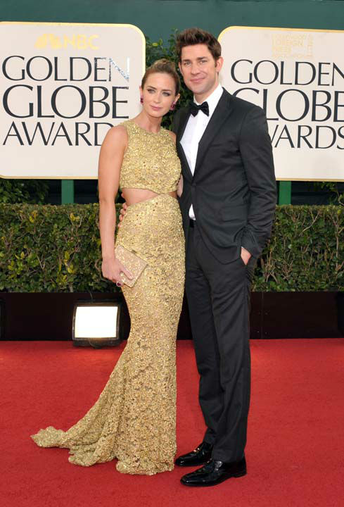 Actress Emily Blunt, left, and actor John Krasinski arrive at the 70th Annual Golden Globe Awards at the Beverly Hilton Hotel on Sunday Jan. 13, 2013, in