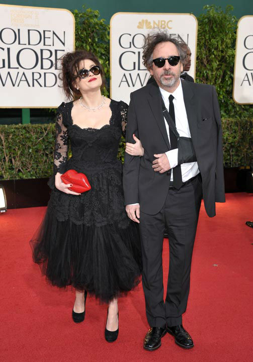 Actress Helena Bonham Carter, left, and director Tim Burton at the 70th Annual Golden Glo
