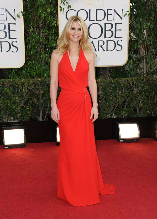 Actress Claire Danes arrives at the 70th Annual Golden Globe Awards at the Beverly Hilton Hotel on S