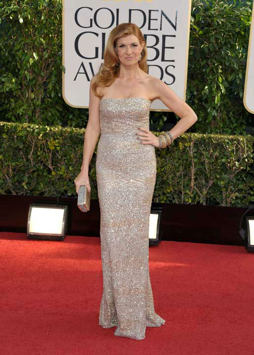 Connie Britton arrives at the 70th Annual Golden Globe Awards at the Beverly Hilton Hotel on Sunday Jan. 13, 2013, in Beverly Hills,