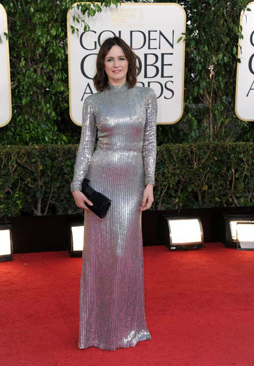 Actress Emily Mortimer arrives at the 70th Annual Golden Globe Awards at the Beverly Hilton Hotel on Sunday Jan. 13, 2013, in Beverly Hills, Calif.