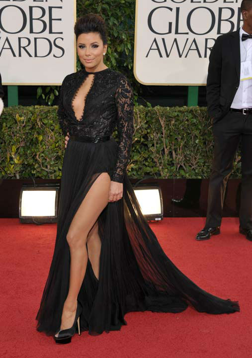 Actress Eva Longoria arrives at the 70th Annual Golden Globe Awards at the Beverly Hilton Hotel on Sunday Jan. 13, 2013, in Beverly Hills, Calif.