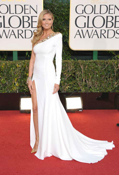 TV personality Heidi Klum arrives at the 70th Annual Golden Globe Awards at the Beverly Hilton Hotel on Sunday Jan. 13, 2013, in