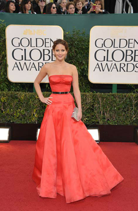Actress Jennifer Lawrence arrives at the 70th Annual Golden Globe Awards at the Beverly Hilton Hotel on Sunday Jan. 13, 2013, in Beverly Hills, Calif.  <span class=meta>(Photo&#47;John Shearer)</span>