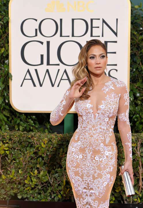 Actress/singer Jennifer Lopez arrives at the 70th Annual Golden Globe Awards at the Bever