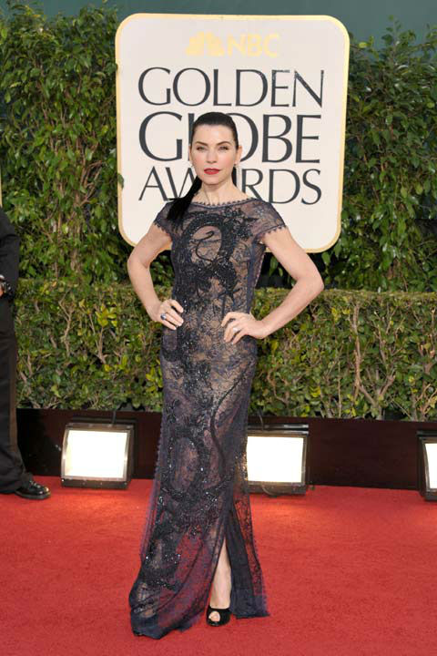 Actress Julianna Margulies arrives at the 70th Annual Golden Globe Awards at the Beverly Hilton Hotel on Sunday Jan. 13, 2013, in Beverly Hill