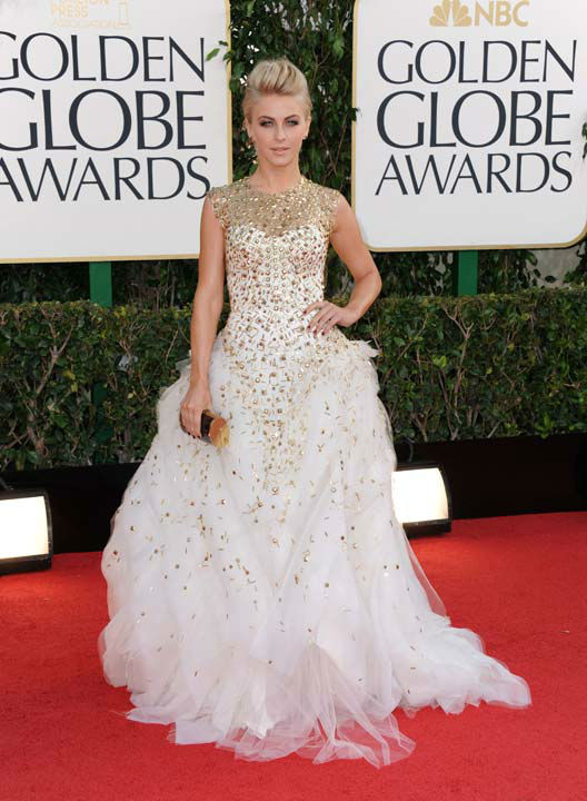 Actress Julianne Hough arrives at the 70th Annual Golden Globe Awards at the Beverly Hilton Hotel on Sunday Jan. 13, 2013, in Beverly Hills, C