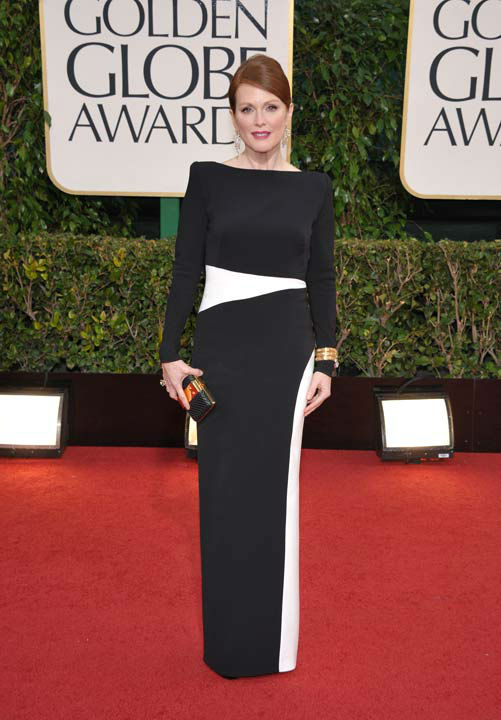 Actress Julianne Moore arrives at the 70th Annual Golden Globe Awards at the Beverly Hilton Hotel on Sunday Jan. 13, 2013, in Beverly Hills, Calif.