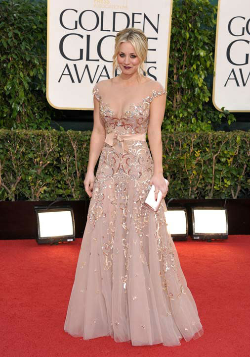 Actress Kaley Cuoco arrives at the 70th Annual Golden Globe Awards at the Beverly Hilton Hotel on Sunday Jan. 13, 2013, in Beverly Hills, Calif.