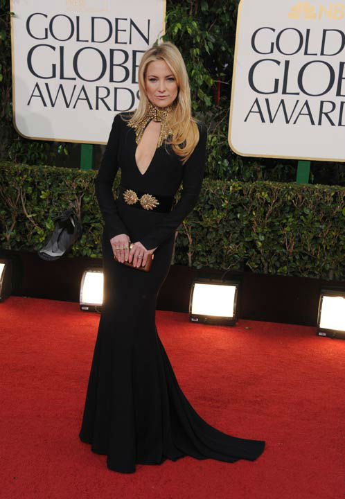 Actress Kate Hudson arrives at the 70th Annual Golden Globe Awards at the Beverly Hilton Hotel on Sunday Jan. 13, 2013, in Beverly Hills, Calif.
