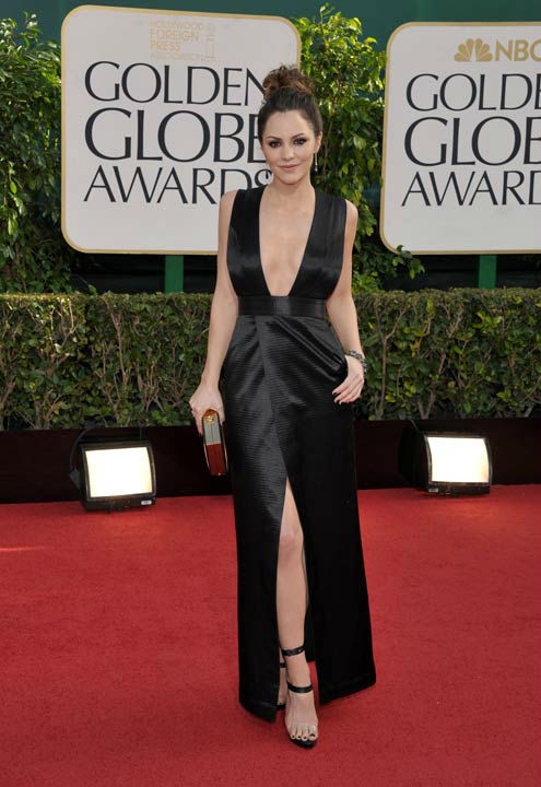 Katharine McPhee arrives at the 70th Annual Golden Globe Awards at the Beverly Hilton Hotel on Sunday Jan. 13, 2013, in Beverly Hills, Calif.