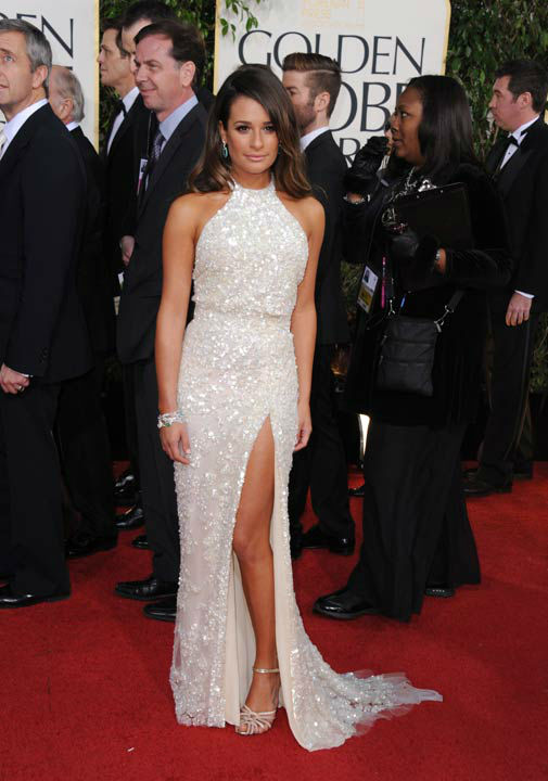 Actress Lea Michele arrives at the 70th Annual Golden Globe Awards at the Beverly Hilton Hotel on Sunday Jan. 13, 2013, in Beverly Hills, Calif.