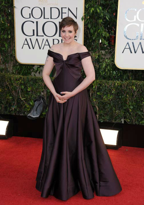 Actress and filmmakerr Lena Dunham arrives at the 70th Annual Golden Globe Awards at the Beverly Hilton Hotel on Sunday Jan. 13, 2013, in Beverly Hills, Calif.
