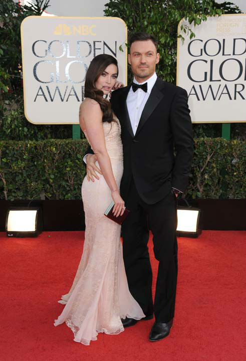 Actors Megan Fox, left, and Brian Austin Green arrive at the 70th Annual Golden Globe Awards at the Beverly Hilton Hotel on Sunday Jan. 13, 2013, in Beverly Hills, Calif.