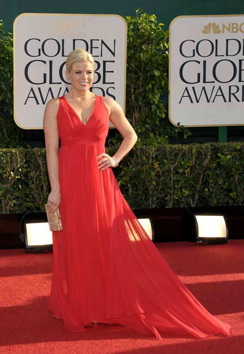 Megan Hilty arrives at the 70th Annual Golden Globe Awards at the Beverly Hilton Hotel on Sunday Jan. 13, 2013, in Beverly Hills, Calif.