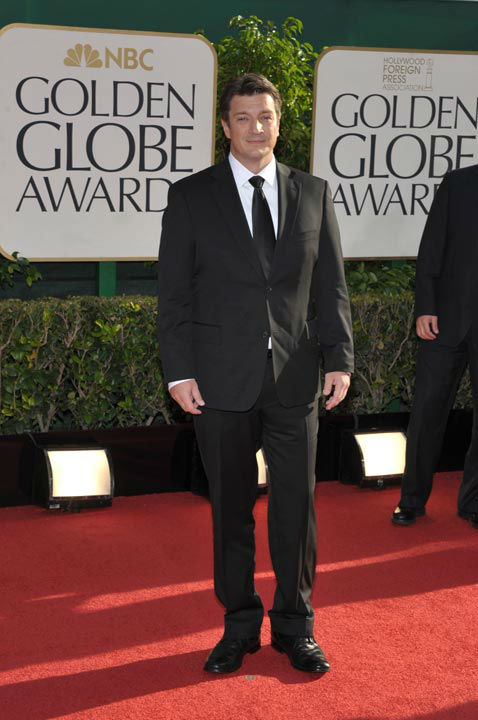 Nathan Fillion arrives at the 70th Annual Golden Globe Awards at the Beverly Hilton Hotel on Sunday Jan. 13, 2013, in Beverly Hi