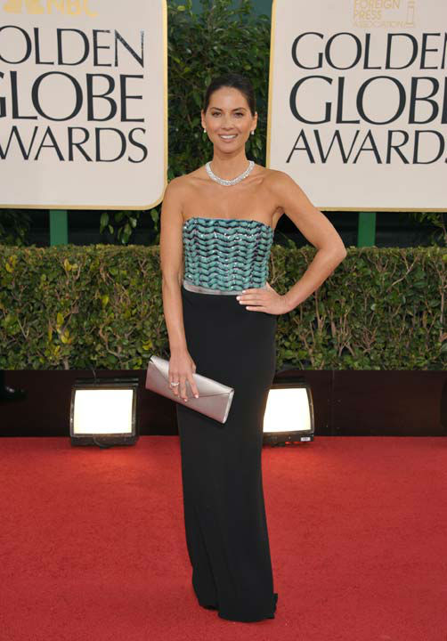 Actress Olivia Munn arrives at the 70th Annual Golden Globe Awards at the Beverly Hilton Hotel on Sunday Jan. 13, 2013, in