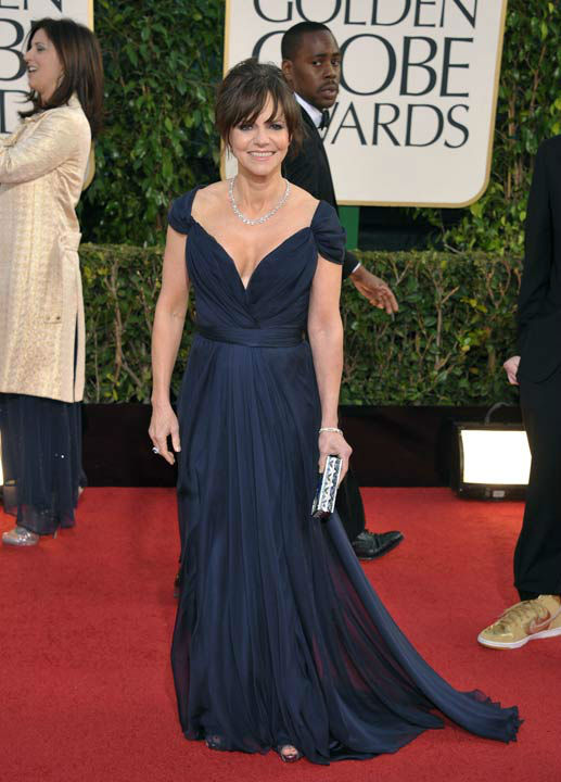 Actress Sally Field arrives at the 70th Annual Golden Globe Awards at the Beverly Hilton Hotel on Sunday Jan. 13, 2013, in Beverly Hills, Calif.