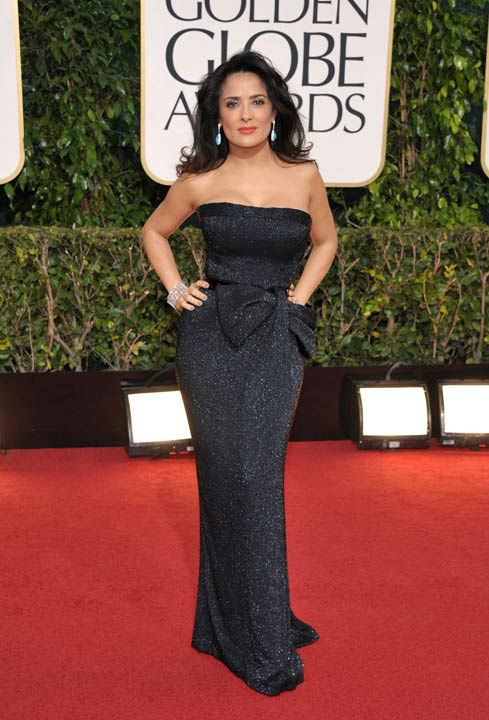 Actress Salma Hayek arrives at the 70th Annual Golden Globe Awards at the Beverly Hilton Hotel on Sunday Jan. 13, 2013, in Beverly Hills, Calif.