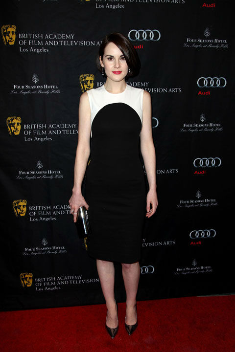 Michelle Dockery arrives at the BAFTA Awards Season Tea Party at The Four Seasons Hotel on Saturday, Jan. 12, 2013, in Los Angeles.