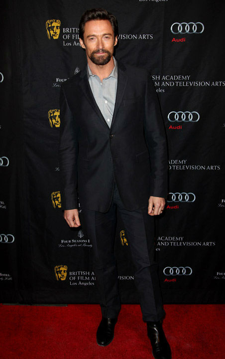Oscar nominee Hugh Jackman arrives at the BAFTA Awards Season Tea Party at The Four Seasons Hotel on Saturday, Jan. 12, 2013, in Los Angeles.