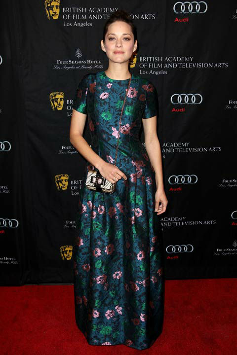 Oscar nominee Marion Cotillard arrives at the BAFTA Awards Season Tea Party at The Four Seasons Hotel on Saturday, Jan. 12, 2013, in Los Angeles.