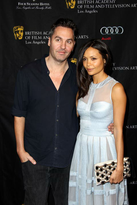 Thandie Newton, right, and Ol Parker arrive at...