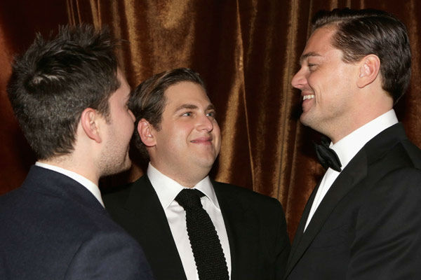 Actors Jonah Hill and Leonardo DiCaprio attend The Weinstein Company's 2013 Golden Globe Awards after party presented by Chopard, HP, Laura Mercier, Lexus, Marie Claire, and Yucaipa Films held at The Old Trader Vic's at The Beverly Hilton Hotel on Ja