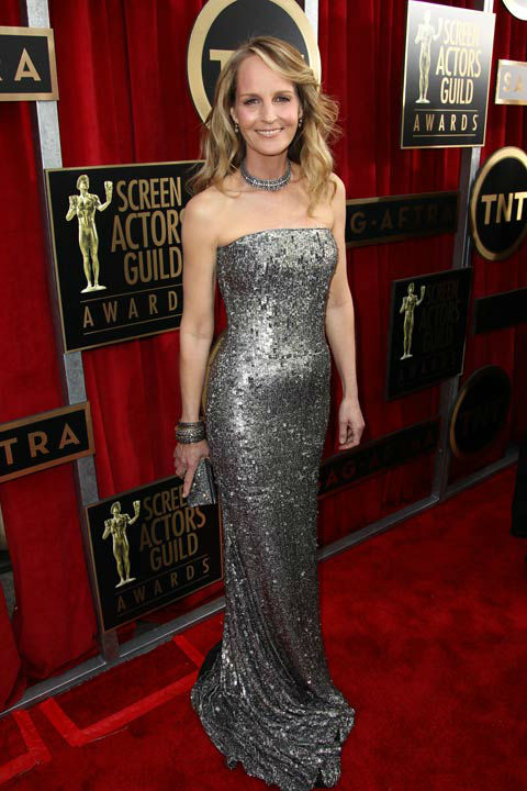 Actress Helen Hunt arrives at the 19th Annual Screen Actors Guild Awards at the Shrine Auditorium in Los Angeles on Sunday, Jan. 27, 2013.