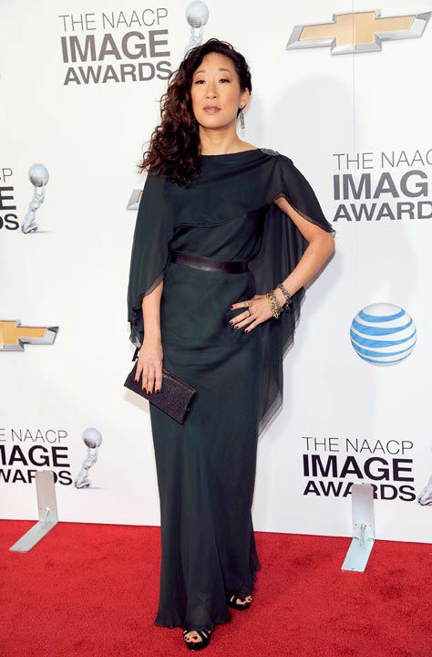 "<div class=""meta ""><span class=""caption-text "">Sandra Oh arrives at the 44th Annual NAACP Image Awards at the Shrine Auditorium in Los Angeles on Friday, Feb. 1, 2013. (Photo/Chris Pizzello)</span></div>"