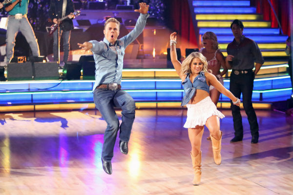 "<div class=""meta ""><span class=""caption-text "">Olympic gymnast Shawn Johnson and her partner Derek Hough dance on 'Dancing With The Stars: All-Stars,' which aired on October 29, 2012.  (ABC Photo / Adam Taylor)</span></div>"